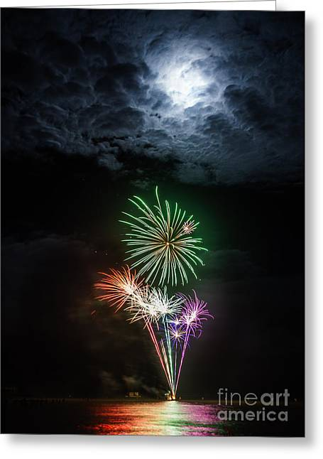 Sea Moon Full Moon Greeting Cards - Full Moon Fireworks Greeting Card by Peta Thames