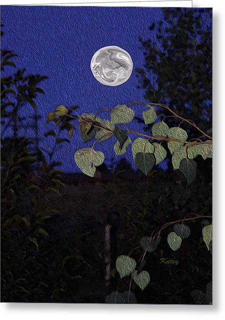 Modern Digital Art Digital Art Greeting Cards - Full Moon- impressionism art- blue moon Greeting Card by Kathy  Symonds