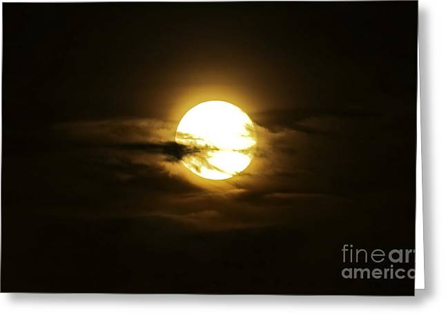 Moonrise Photographs Greeting Cards - Full Moon In The Night Sky, Sobreda Greeting Card by Miguel Claro