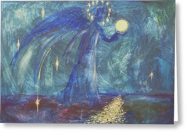 Best Sellers -  - Stellar Paintings Greeting Cards - Full Moon Greeting Card by Kseniya Nelasova