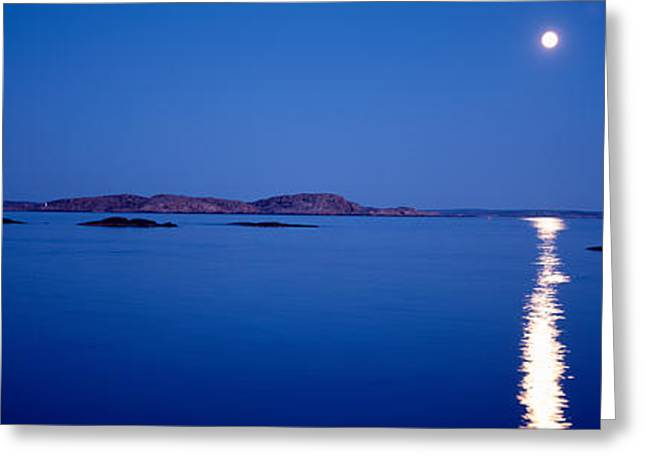 Full Moon, Night, Bohuslan, Sweden Greeting Card by Panoramic Images