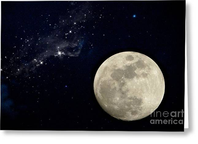Tranquil Sculptures Greeting Cards - Full Moon Night. Greeting Card by Noppharat Manakul