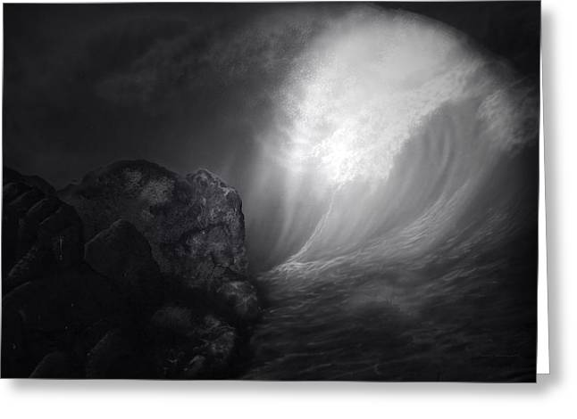 Moon Beach Greeting Cards - Full Moon On The Reef Black And White PA Greeting Card by Thomas Woolworth