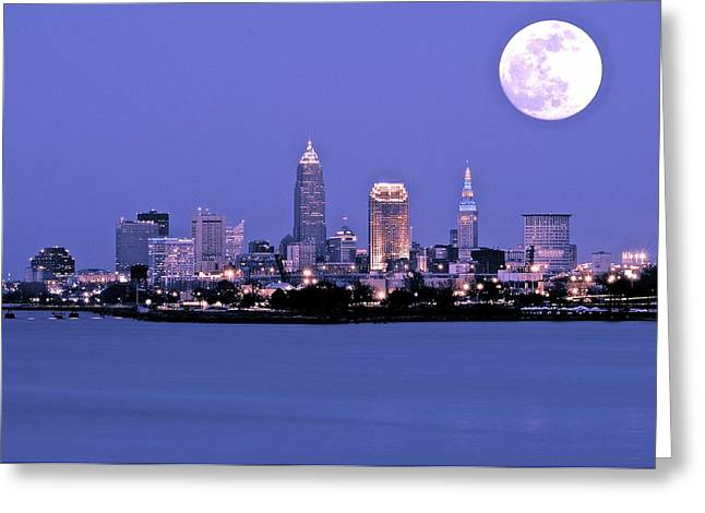 Town Square Greeting Cards - Full Moon over Cleveland Greeting Card by Frozen in Time Fine Art Photography