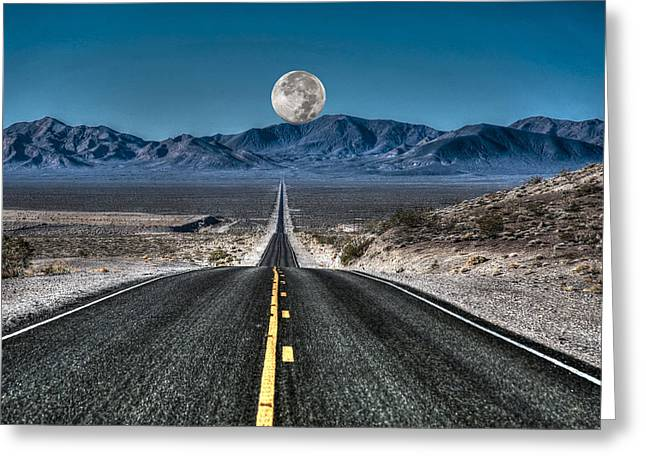 Mountain Valley Greeting Cards - Full Moon Over Death Valley Greeting Card by Donna Kennedy