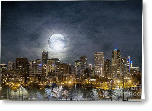 Buildings Greeting Cards - Full Moon Over Denver Greeting Card by Juli Scalzi