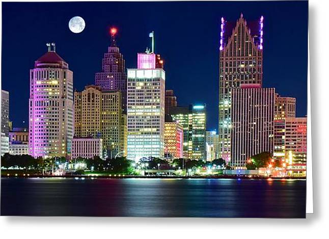 River View Greeting Cards - Full Moon over Detroit Greeting Card by Frozen in Time Fine Art Photography