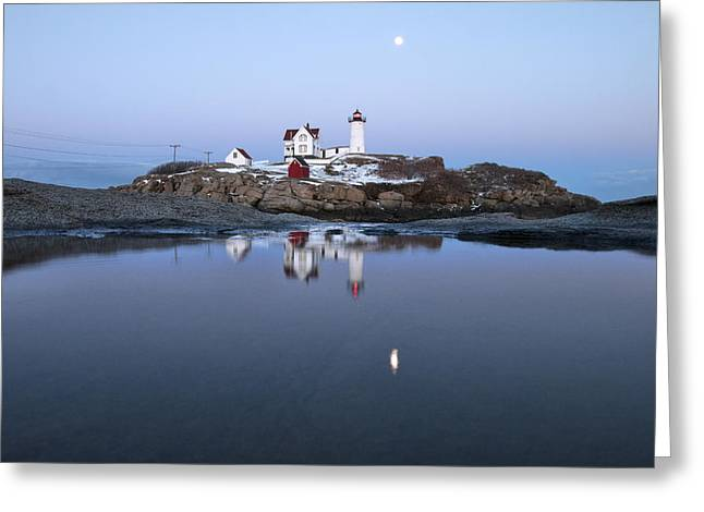 Full Moon Over Nubble Lighthouse Greeting Card by Eric Gendron