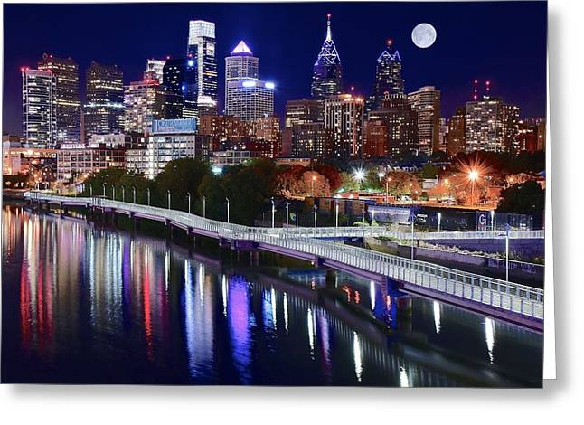Full Moon Over Philly Greeting Card by Frozen in Time Fine Art Photography