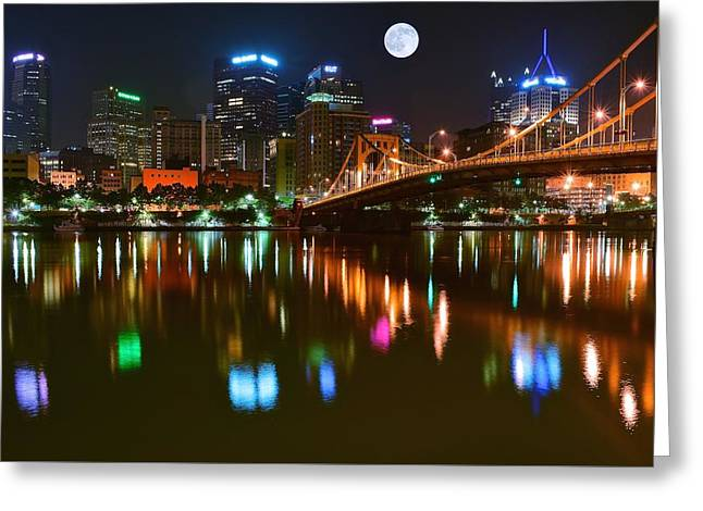 Monongahela Duquesne Incline Greeting Cards - Full Moon over Pittsburgh Greeting Card by Frozen in Time Fine Art Photography