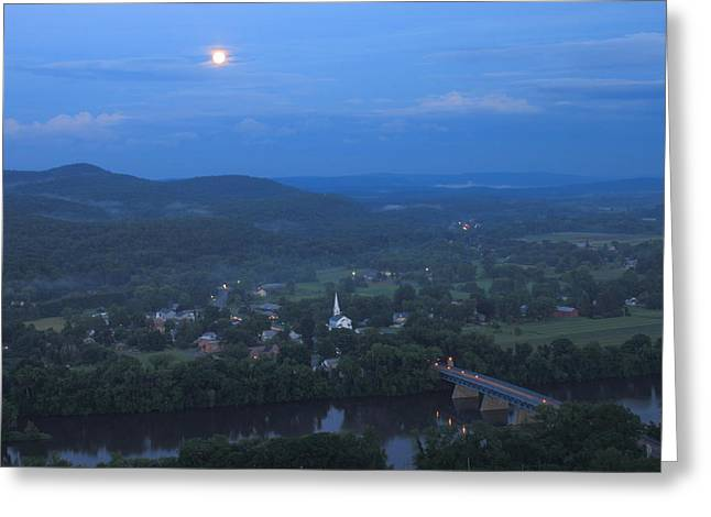 Deerfield River Greeting Cards - Full Moon over the Connecticut River Valley Greeting Card by John Burk