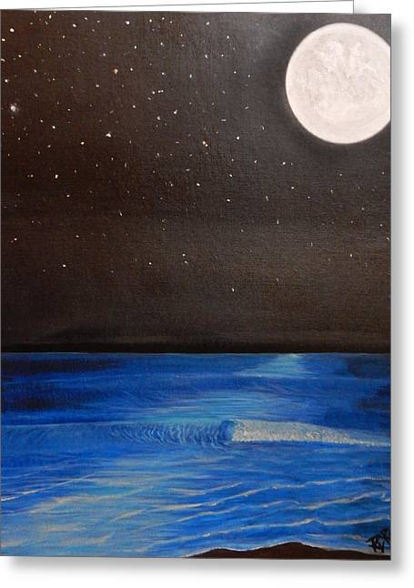 Sea Moon Full Moon Greeting Cards - Full Moon Over The Ocean Greeting Card by Ryan  Rinard
