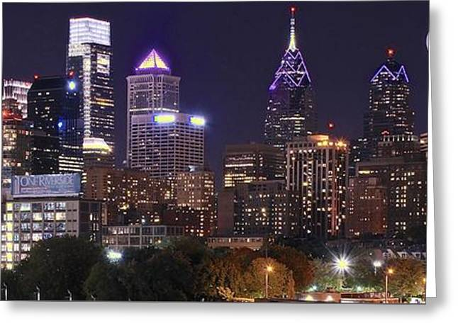Full Moon Philly Panorama Greeting Card by Frozen in Time Fine Art Photography