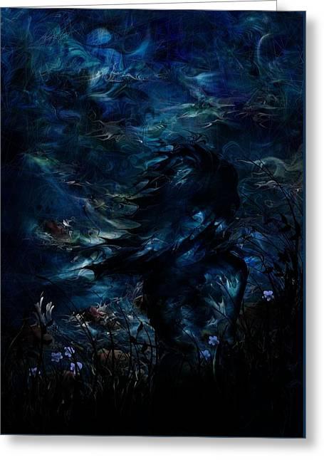 Full Moon Greeting Card by Rachel Christine Nowicki