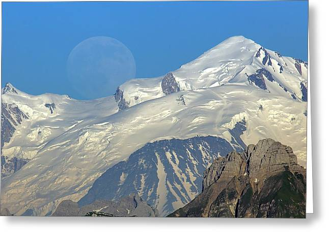 Moonrise Greeting Cards - Full moon rise behind Mt Blanc Greeting Card by Patrick Jacquet