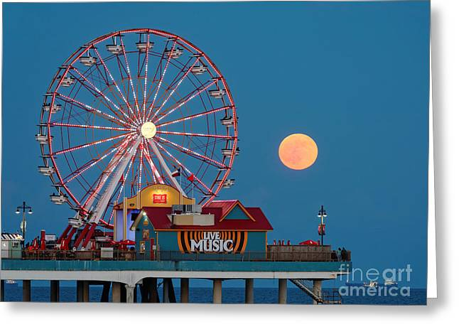 Seawall Greeting Cards - Full Moon rising above the Gulf of Mexico - Historic Pleasure Pier - Galveston Island Texas Greeting Card by Silvio Ligutti