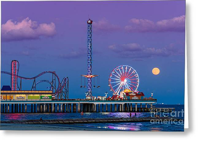 Seawall Greeting Cards - Full Moon Rising and Historic Pleasure Pier in Galveston Island - Texas Gulf Coast Greeting Card by Silvio Ligutti