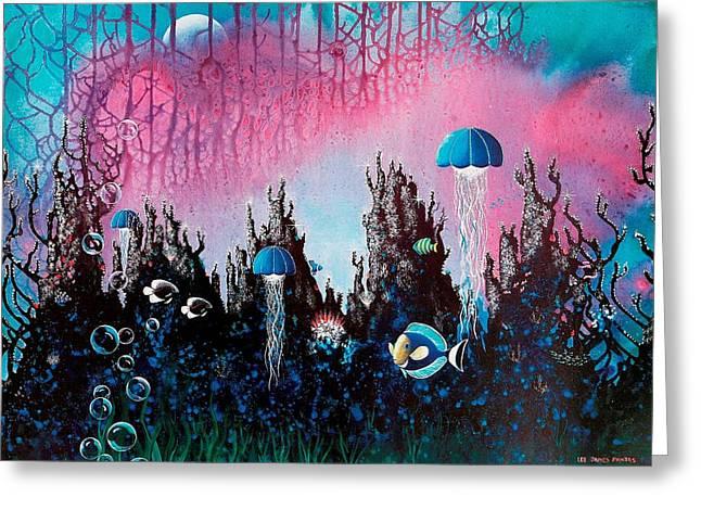 Angel Mermaids Ocean Greeting Cards - Full Moon Rising Greeting Card by Lee Pantas