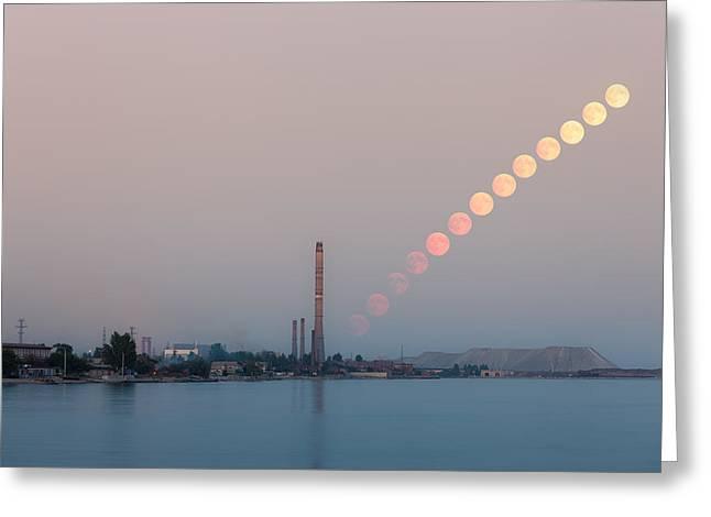 Sea Moon Full Moon Greeting Cards - Full moon rising over industrial landscape Greeting Card by Nickolay Khoroshkov