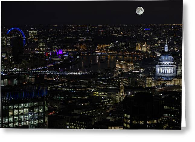 Illuminate Greeting Cards - Full Moon rising over London Skyline  Greeting Card by Andy Myatt