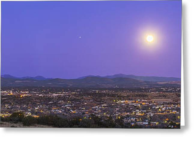 Silver City Greeting Cards - Full Moon Rising Over Silver City, New Greeting Card by Alan Dyer