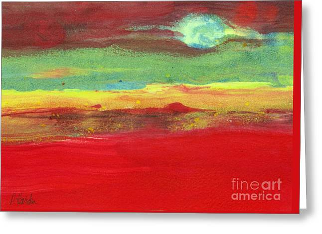 Red Abstracts Greeting Cards - Full Moon Rising Greeting Card by Pamela Iris Harden