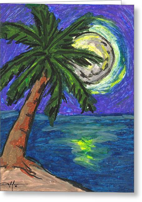Beach Artwork Pastels Greeting Cards - Full Moon Rising Greeting Card by William Depaula
