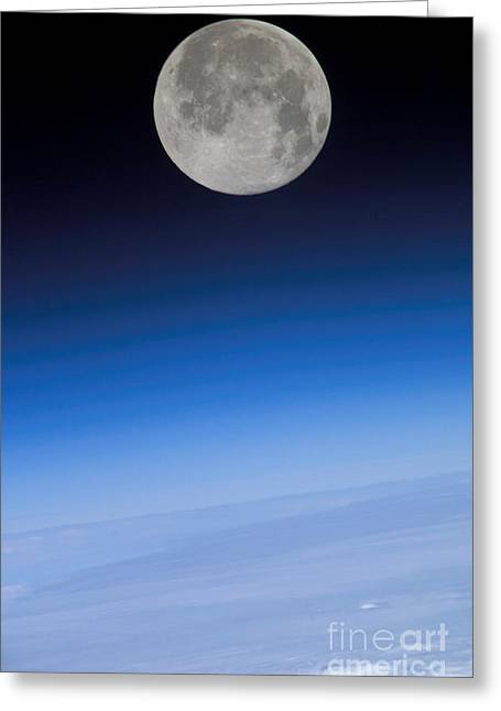 Aerial Photograph Greeting Cards - Full Moon Seen From Space Greeting Card by NASA/Science Source