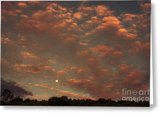 Colorful Cloud Formations Greeting Cards - Full Moon Setting at Sunrise Greeting Card by Thomas R Fletcher