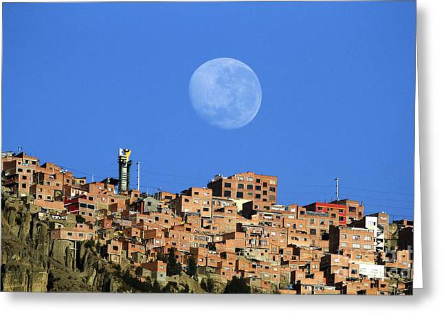 La Paz Greeting Cards - Full moon setting over El Alto Bolivia Greeting Card by James Brunker