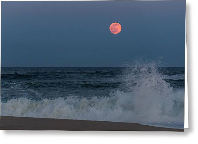 Sea Moon Full Moon Greeting Cards - Full Moon Splash Seaside NJ Greeting Card by Terry DeLuco