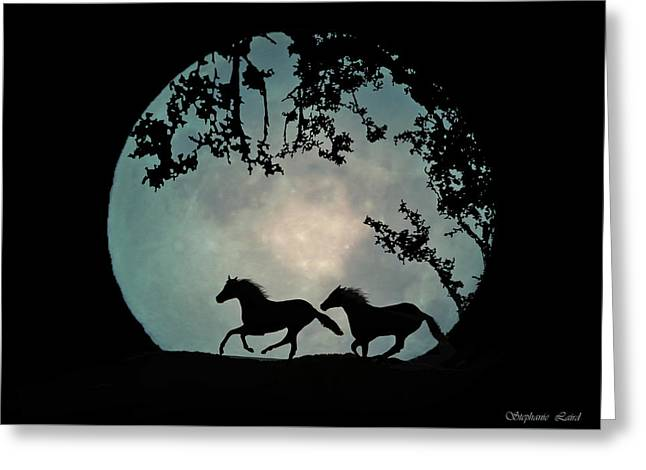 Silhouettes Of Horses Greeting Cards - Full Moon Greeting Card by Stephanie Laird