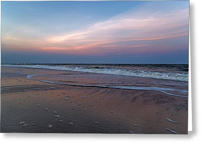 Topsail Island Greeting Cards - Full Moon Sunset Topsail Island  Greeting Card by Betsy C  Knapp