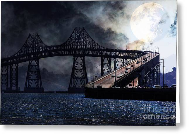 Larkspur Greeting Cards - Full Moon Surreal Night At The Bay Area Richmond-San Rafael Bridge - 5D18440 Greeting Card by Wingsdomain Art and Photography