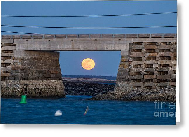 Full Moon Under The Cribstone Bridge Greeting Card by Benjamin Williamson