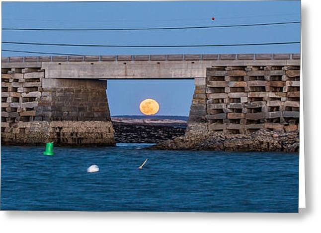 Moonrise Greeting Cards - Full Moon Under the Cribstone Bridge Panorama Greeting Card by Benjamin Williamson