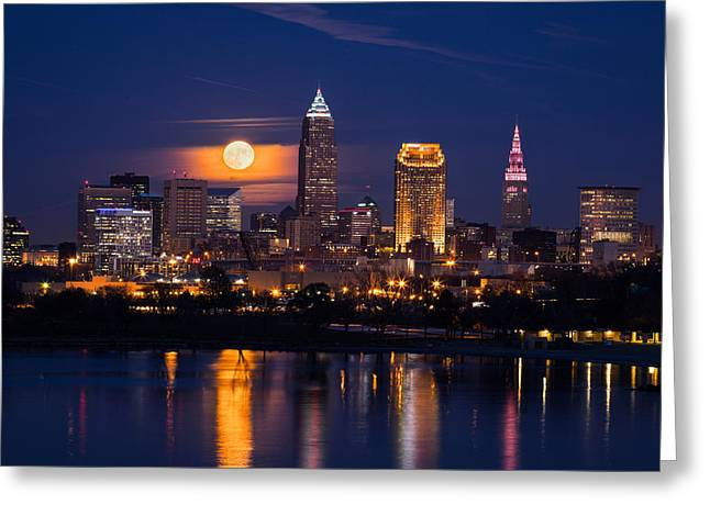 Full Moonrise Over Cleveland Greeting Card by Dale Kincaid