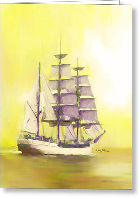 Sailing Ship Greeting Cards - Full Sail Greeting Card by Greg Collins