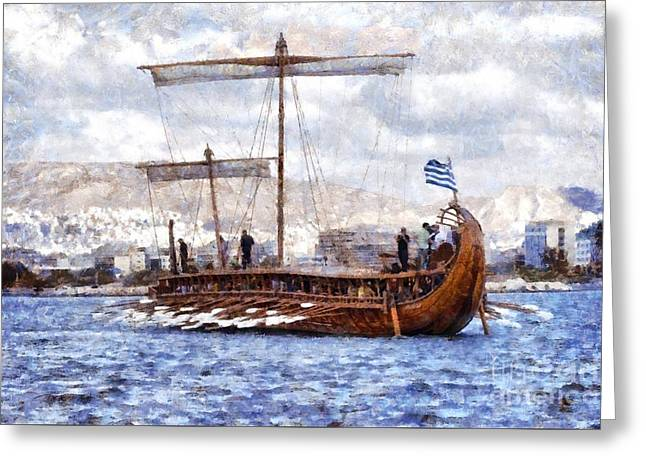 Painting Of An Ancient Trireme Greeting Card by George Atsametakis