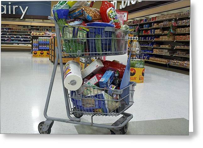 Grocery Store Greeting Cards - Full shopping cart Greeting Card by Ben Schumin