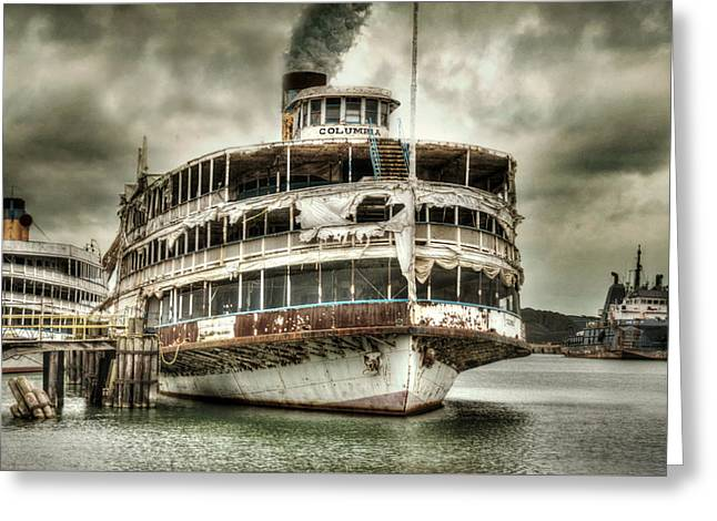 Amusements Greeting Cards - Full Steam Ahead Greeting Card by Malena Fryar