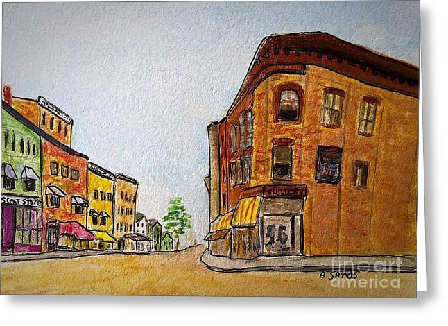 Main Street Greeting Cards - Fuller building Main street Amesbury Greeting Card by Anne Sands