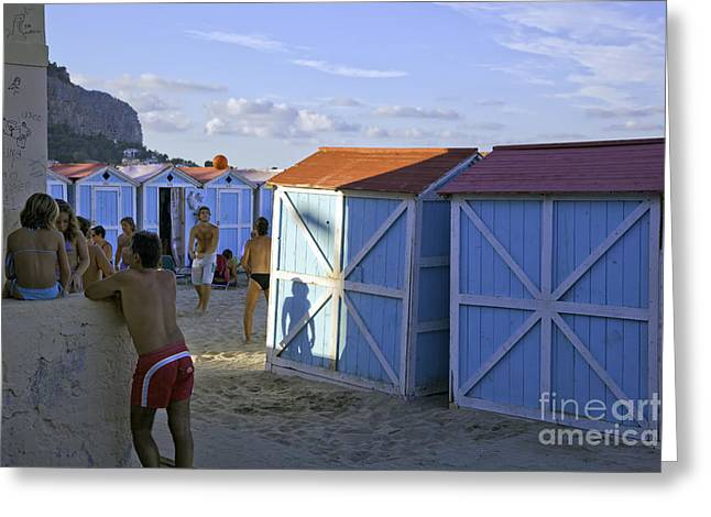 Cabana Greeting Cards - Fun at Mondello Beach Greeting Card by Madeline Ellis
