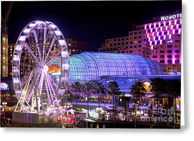 Darling Harbour Greeting Cards - Fun at Vivid Sydney by Kaye Menner Greeting Card by Kaye Menner
