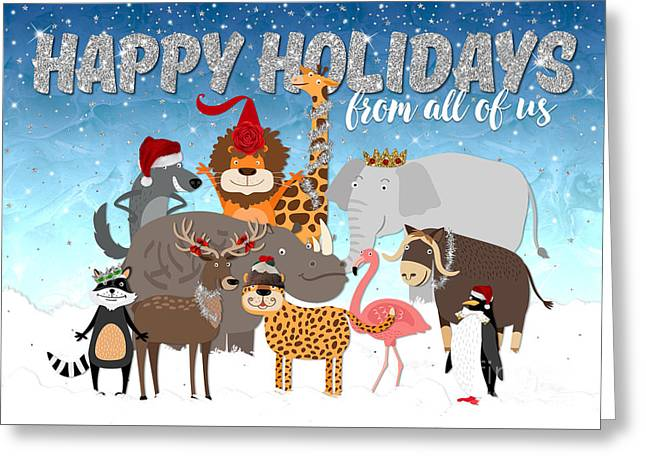 Christmas Card From All Of Us - Happy Holidays Cartoon Animals Greeting Card by Natalie Kinnear
