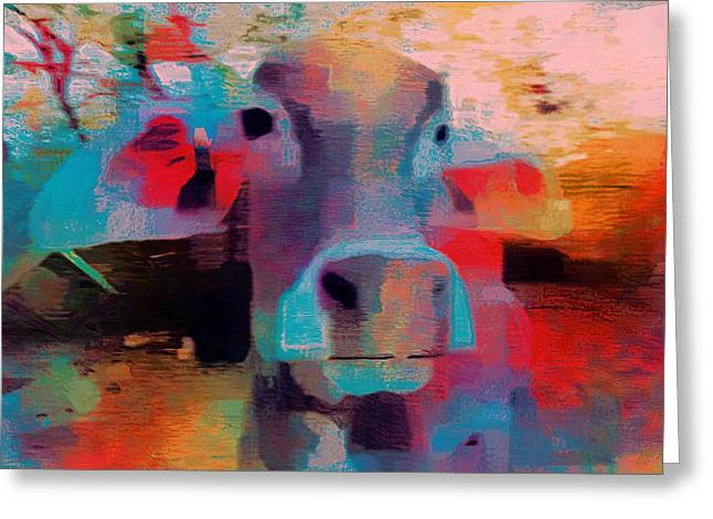 Shed Digital Art Greeting Cards - Fun Pink Blue Abstract Cow Rajasthan India 1b Greeting Card by Sue Jacobi
