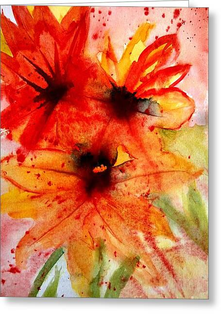 Wet Into Wet Watercolor Greeting Cards - Fun In The Garden Greeting Card by Eunice Miller
