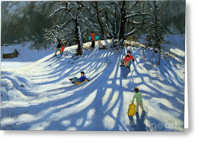 Winter Landscape Paintings Greeting Cards - Fun in the Snow Greeting Card by Andrew Macara