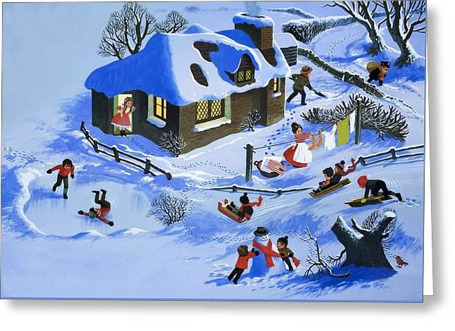 Fun In The Snow Greeting Card by English School