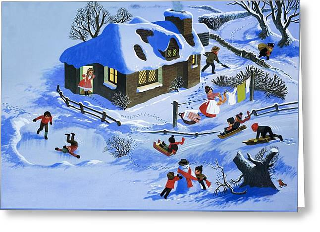 Mother Land Greeting Cards - Fun in the snow Greeting Card by English School